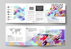 Business templates for tri fold square design brochures. Leaflet cover, abstract vector layout. Bright color lines and. Set of business templates for tri fold Royalty Free Stock Photos