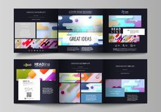 Business templates for tri fold square design brochures. Leaflet cover, abstract vector layout. Bright color lines and. Set of business templates for tri fold Stock Images