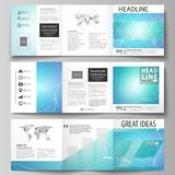 Set of business templates for tri fold square design brochures. Leaflet cover, vector layout. Chemistry pattern. Set of business templates for tri fold square Royalty Free Stock Photography