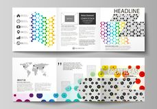Business templates for tri fold square brochures. Leaflet cover, abstract vector layout. Chemistry pattern, hexagonal. Set of business templates for tri fold Stock Photography