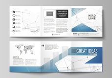 Set of business templates for tri fold square design brochures. Leaflet cover, abstract vector layout. Geometric blue. Set of business templates for tri fold stock illustration