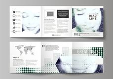 Business templates for tri fold square design brochures. Leaflet cover, vector layout. Halftone dotted background, retro vector illustration