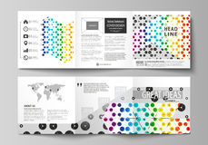 Set of business templates for tri fold square design brochures. Leaflet cover, abstract vector layout. Chemistry pattern. Set of business templates for tri fold Royalty Free Stock Image