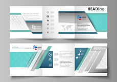 Set of business templates for tri fold square design brochures. Leaflet cover, abstract vector layout. Chemistry pattern Stock Photos