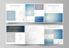 Set of business templates for tri fold square design brochures. Leaflet cover, abstract vector layout. Geometric blue. Set of business templates for tri fold Royalty Free Stock Photos