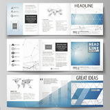 Set of business templates for tri fold square design brochures. Leaflet cover, abstract vector layout. Geometric blue. Set of business templates for tri fold Stock Image