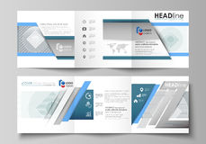 Set of business templates for tri fold square design brochures. Leaflet cover, abstract vector layout. Minimalistic. Set of business templates for tri fold Stock Images