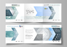 Set of business templates for tri fold square design brochures. Leaflet cover, abstract vector layout. Minimalistic. Set of business templates for tri fold Royalty Free Stock Photography