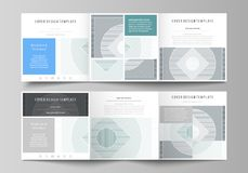 Set of business templates for tri fold square design brochures. Leaflet cover, abstract vector layout. Minimalistic. Set of business templates for tri fold Stock Photography