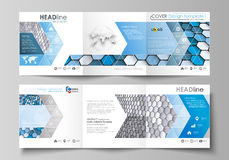 Set of business templates for tri fold square design brochures. Leaflet cover, layout, easy editable vector. Blue and Stock Photo