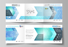 Set of business templates for tri fold square design brochures. Leaflet cover, vector layout. Chemistry pattern. Set of business templates for tri fold square Stock Images