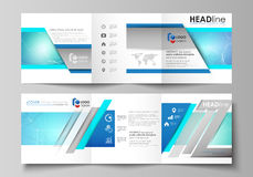 Set of business templates for tri fold square design brochures. Leaflet cover, vector layout. Chemistry pattern. Set of business templates for tri fold square Stock Photo