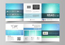 Set of business templates for tri fold square design brochures. Leaflet cover, vector layout. Chemistry pattern. Set of business templates for tri fold square Stock Photography