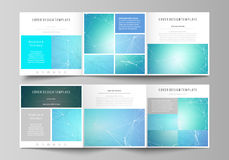 Set of business templates for tri fold square design brochures. Leaflet cover, vector layout. Chemistry pattern. Set of business templates for tri fold square Stock Image