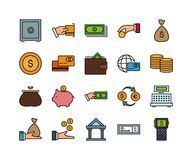 Set of 20 business thin line icons. Set of 20 business colors icon, money and financial signs and symbols, vector illustration Royalty Free Stock Image