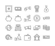 Set of 20 business thin line icons. Money and financial signs and symbols, vector illustration Royalty Free Stock Photo