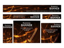 Set business web banners templates standard size. Design concept. With abstract glowing arrow for website. Vector illustration Royalty Free Stock Photography