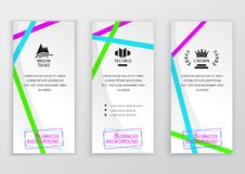 Set of business white vertical banners with brigh colorful thin ribbons. Abstract vector background. Clean design for. Business, medicine, technology, pharmacy Stock Photos