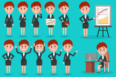 Set of Business woman character design. Royalty Free Stock Photos
