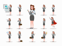 Set of business woman character poses. Royalty Free Stock Image