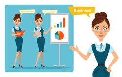 Set of business woman characters poses. Girl with folder. Girl shows presentation and girl points to side.  Stock Photo