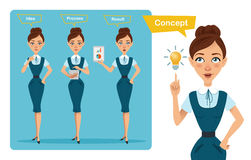 Set of business woman characters poses. Girl has idea . Girl counts profit. Girl shows result on tablet Stock Image