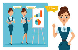 Set of business woman characters poses. Girl has idea . Girl shows presentation and girl calculates result. Stock Photo