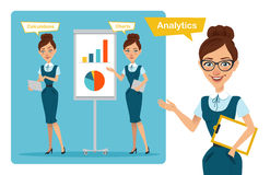 Set of business woman characters poses. Girl speaks. Girl shows profit growth graph and calculates finance Stock Images