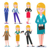 Set of business woman isolated on white. Collection of women, dressed in business style. Business lady smile. Formal suit, different poses of woman. Business Stock Photos