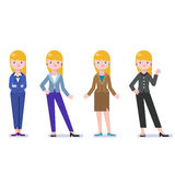 Set of business woman isolated on white. Collection of women, dressed in business style. Business lady smile. Formal suit, different poses of woman. Business Royalty Free Stock Image