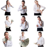 Set of business woman posing with emotional face Royalty Free Stock Photography