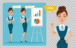 Business women characters on transparent background. Girl has idea . Girl is showing presentation, calculating profit. Set of business women characters. Three Stock Photos