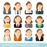 Set of business women icons in flat style. Different occupations age and style Royalty Free Stock Photo