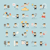 Set of businessman activities on blue background. Set of businessman activities vector Stock Images