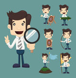 Set of businessman aimming target characters poses Royalty Free Stock Photography