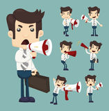 Set of businessman announcing through megaphone Royalty Free Stock Images