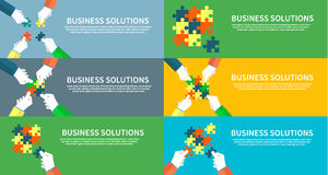 Set of Businessman Assembling Jigsaw Puzzle Stock Images