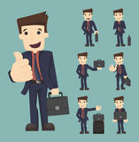 Set of businessman with bag Royalty Free Stock Photo