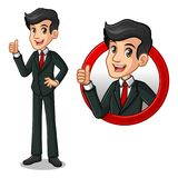Set of businessman in black suit inside the circle logo concept. Set of businessman in black suit cartoon character design, inside the circle logo concept with stock illustration