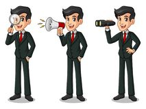Set of businessman in black suit looking for poses Royalty Free Stock Photography