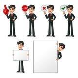 Set of businessman in black suit holding sign board. Set of businessman in black suit cartoon character design holding a blank empty sign board banner billboard stock illustration