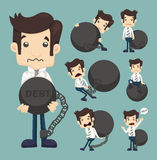 Set of businessman burden with Debt Royalty Free Stock Images