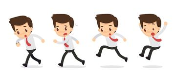 Set of Businessman character in actions. hurrying. Stock Photography