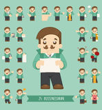 Set of businessman character Royalty Free Stock Images