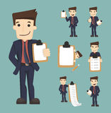 Set of businessman characters with checklist Stock Photo