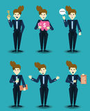 Set of businessman characters. Royalty Free Stock Photos