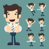 Set of businessman characters poses Royalty Free Stock Images