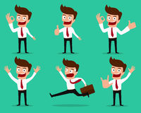 Set of businessman characters poses . Stock Images