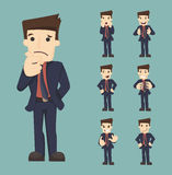 Set of businessman characters poses Royalty Free Stock Image