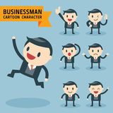 Set of businessman characters poses Royalty Free Stock Photography
